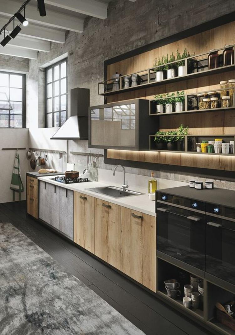 Küchendesign aktuelle Trends moderne Landhausküche Holz Küchenschränke Küchenbilder