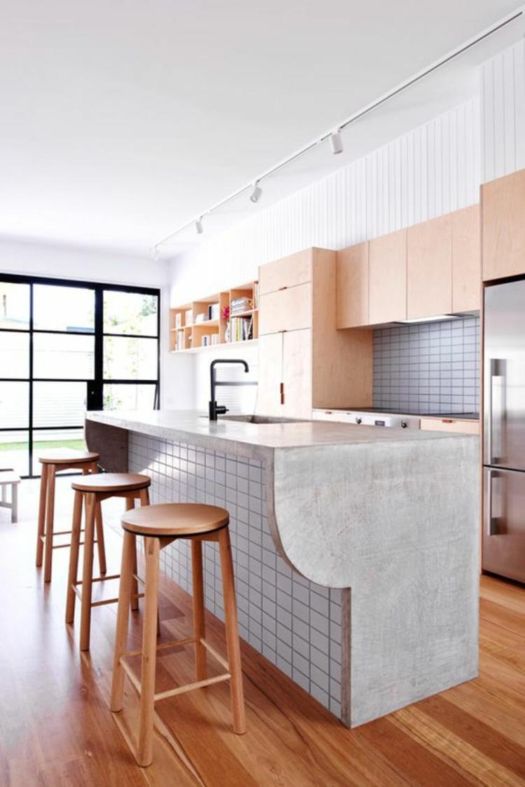 Küchendesign aktuelle Trends weiße Farbe Kücheninsel Beton