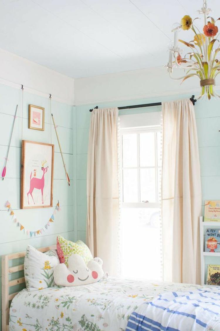 Kinderzimmer Ideen Gardinen für Kinderzimmer Wandgestaltung Farbe Mintgrün