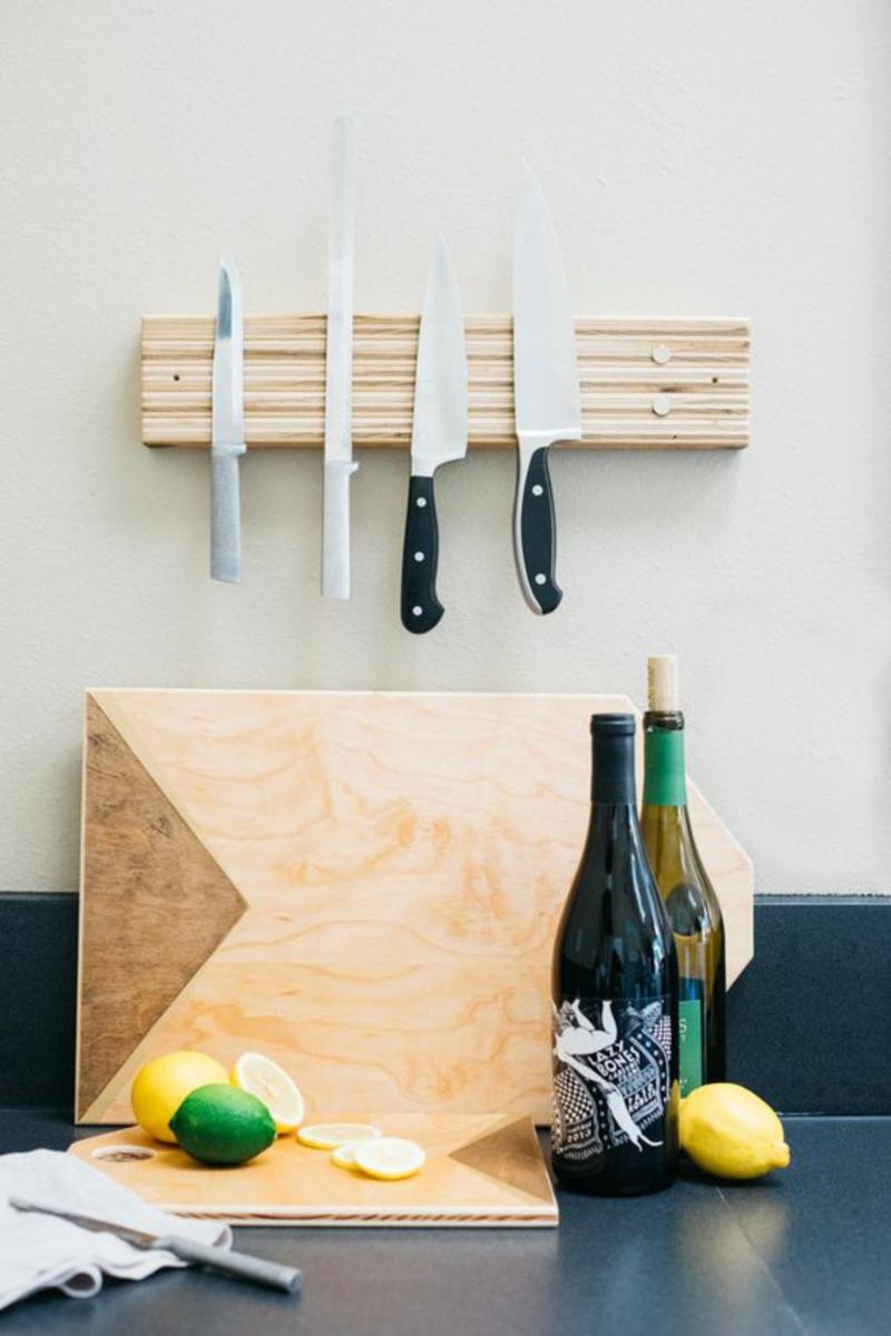 Magnetleiste für Messer selber bauen Anleitung Küchenzubehör Schneidebrett