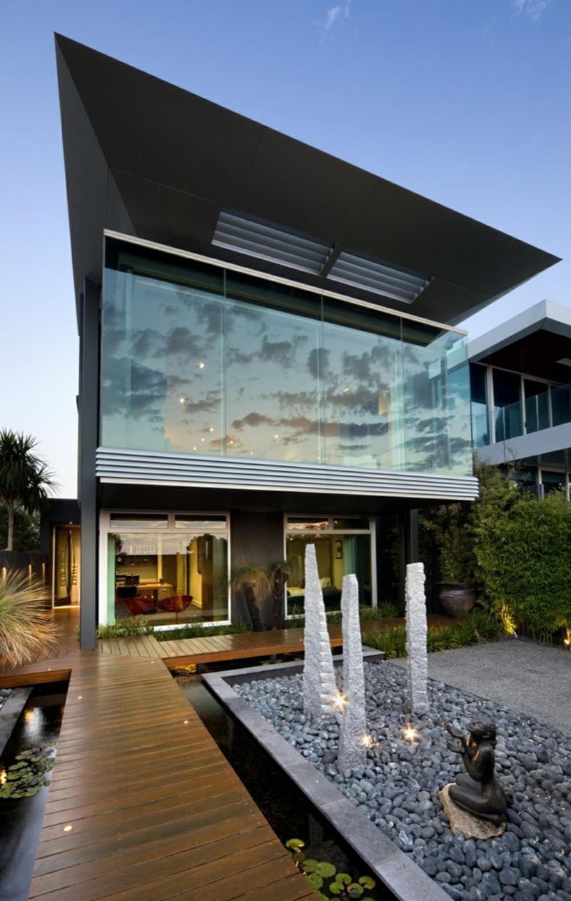 Moderne Architektur Häuser bauen Architektenhaus Garten