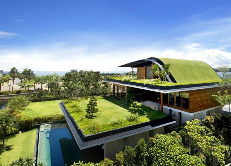 Moderne Häuser bauen Architektenhäuser Dachterrasse Begrünung Dach