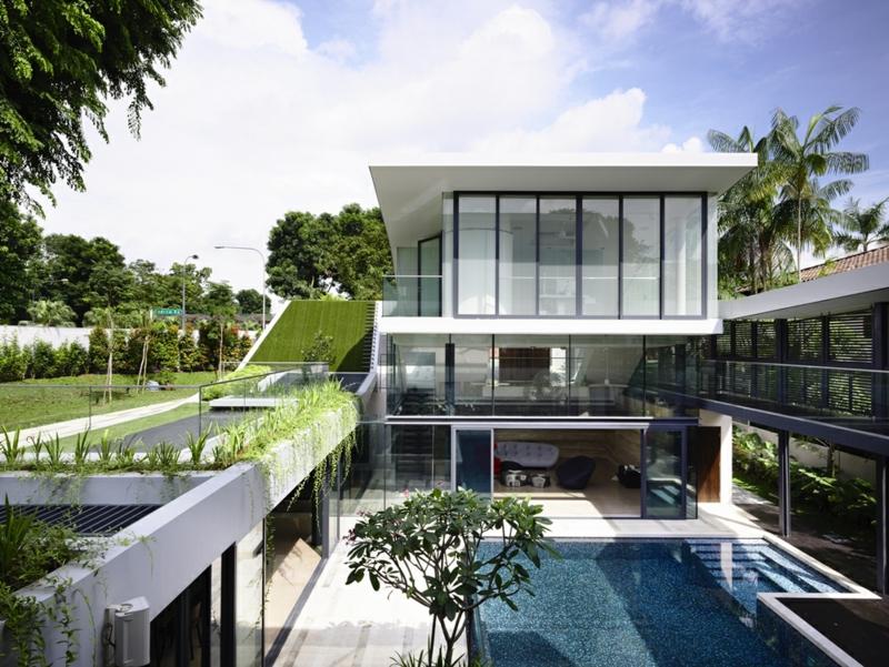 Moderne Häuser bauen Architektenhäuser Dachterrasse Begrünung Gartenpool
