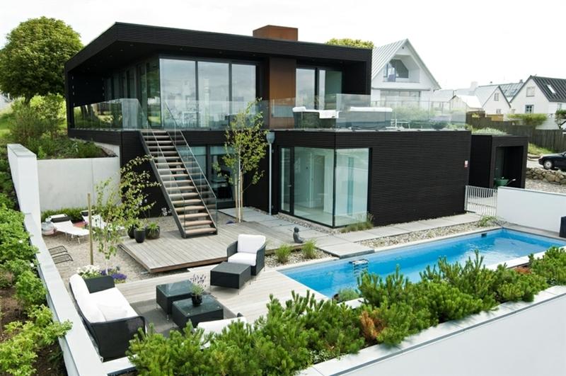 Moderne Häuser bauen Architektenhäuser Hausfassade Außenbereich Luxushaus
