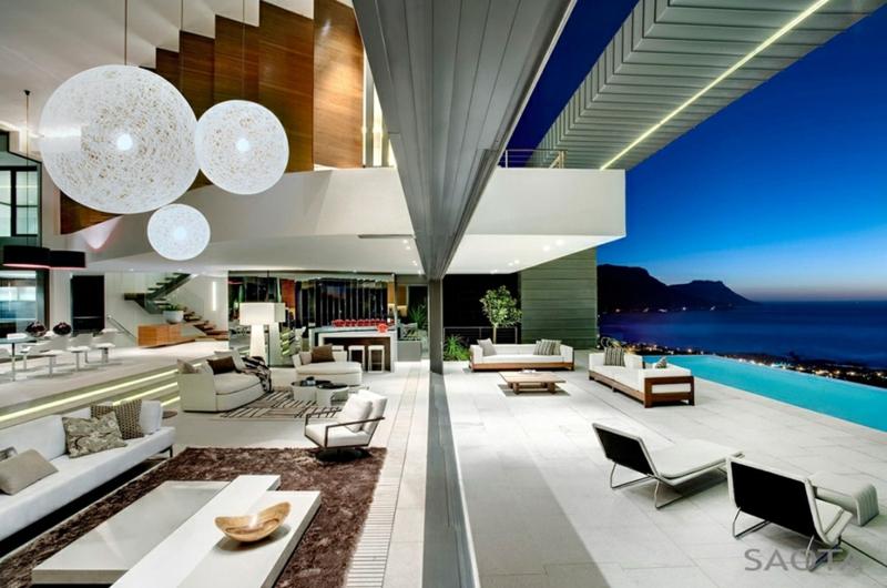 Moderne Häuser bauen Architektenhäuser mit Gartenpool offener Wohnraum