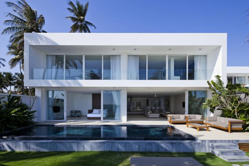 Moderne Häuser bauen Architektenhäuser mit Gartenpool
