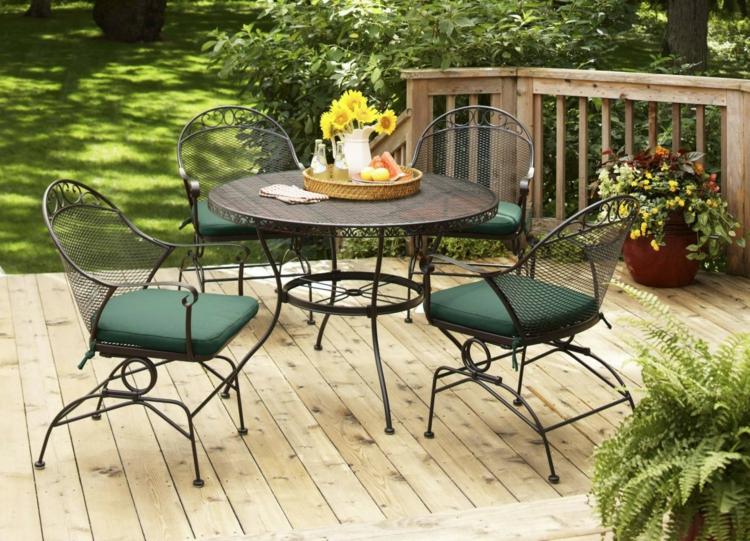 Vorgartengestaltung Vintage Stil Gartenmöbel Schmiedeeisen