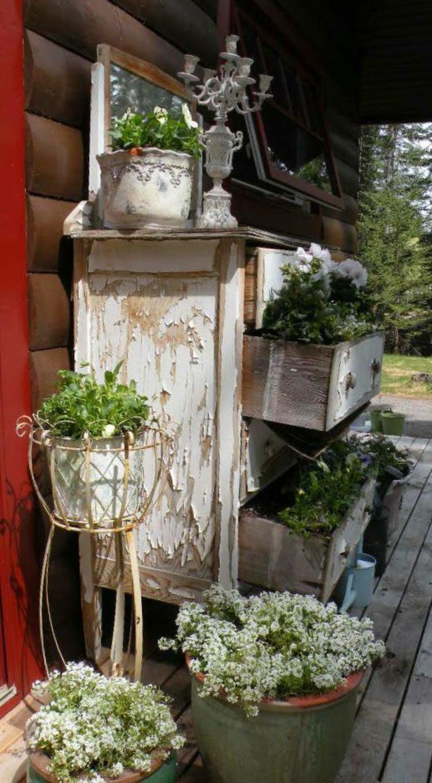 Vorgartengestaltung Vintage Stil Gartenmöbel shabby shic