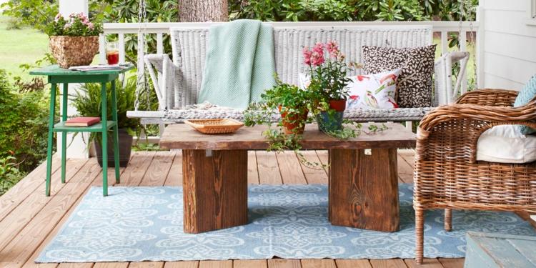 Vorgartengestaltung Vintage Stil Holz Rattan Möbel