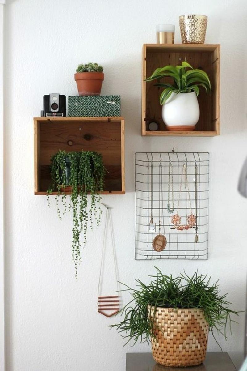 Wandregal selber bauen Anleitung DIY Regale für Topfpflanzen