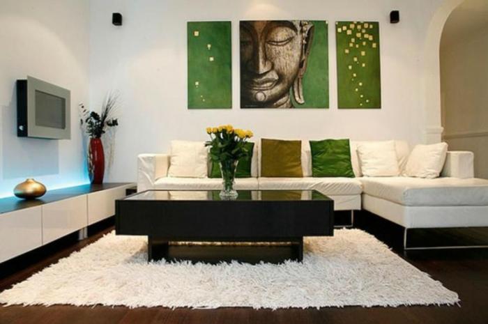 Wohnzimmer Ideen Wandgestaltung Zen Atmosphäre