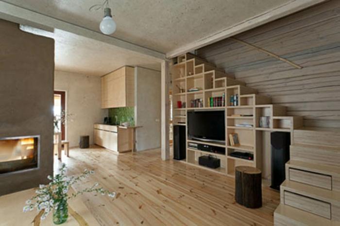 Wohnzimmer Ideen Wohntrends Wohnzimmermöbel Bücherregal Holzboden
