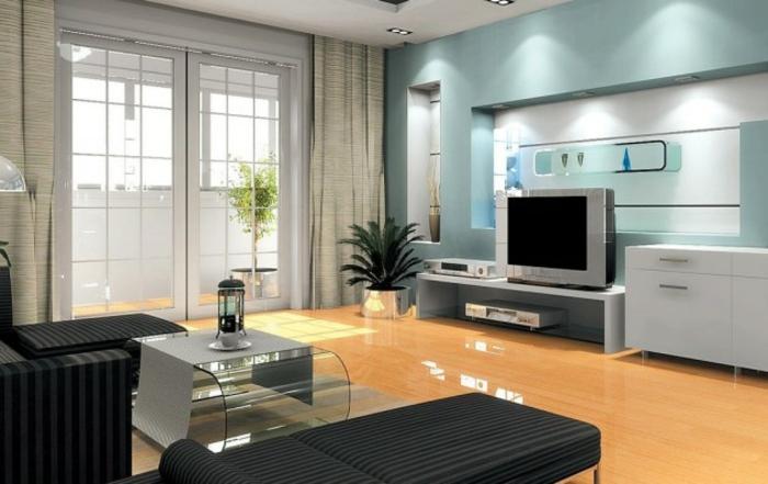 Wohnzimmer Ideen Wohntrends Wohnzimmermöbel TV Wohnwand hellblau