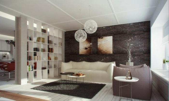Wohnzimmer Ideen Wohntrends Wohnzimmermöbel Trennwand Bücherregal