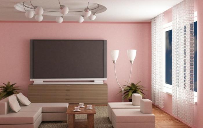 Wohnzimmer Ideen Wohntrends Wohnzimmermöbel Wandfarbe rosa