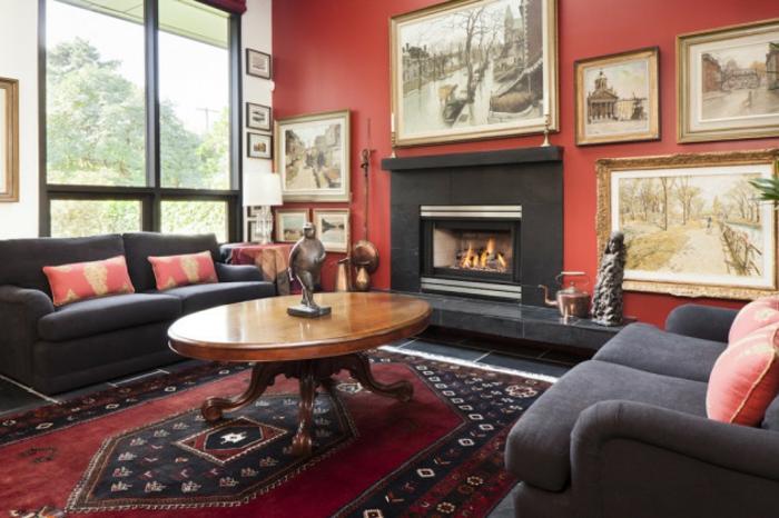 Wohnzimmer Ideen Wohntrends Wohnzimmermöbel Wandfarbe rot