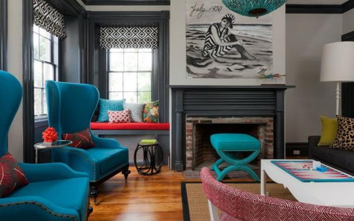 Wohnzimme Ideen Wohntrends Wohnzimmermöbel bleue Polstersessel
