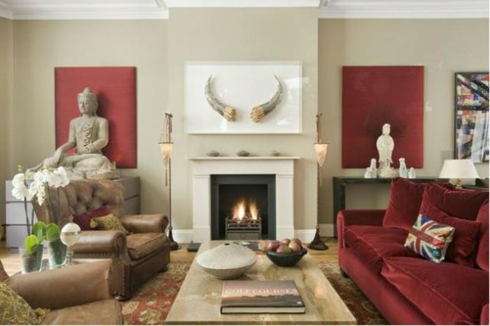 Wohnzimmer Ideen Wohntrends Wohnzimmermöbel rotes Sofa