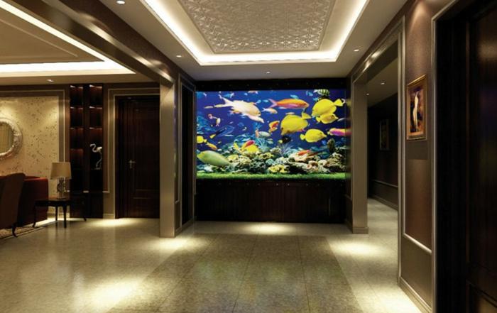 aquarium eirichten design atmosphäre einrichtungsbeispiele wandgestaltung weißes gedimmt