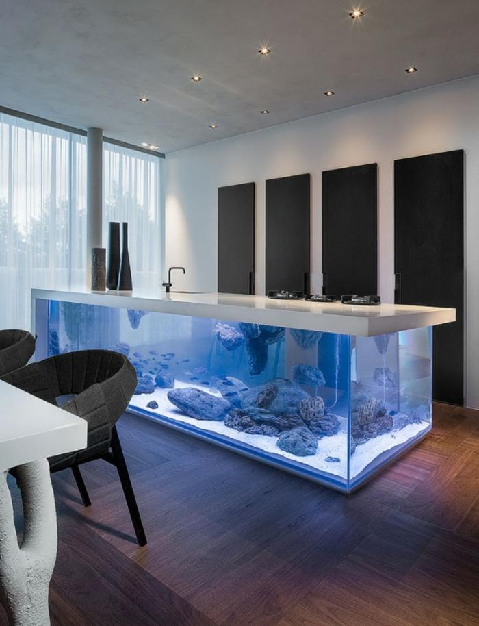 Aquarium Eirichten Design Atmosphäre Einrichtungsbeispiele Wandgestaltung  Weißes Tisch
