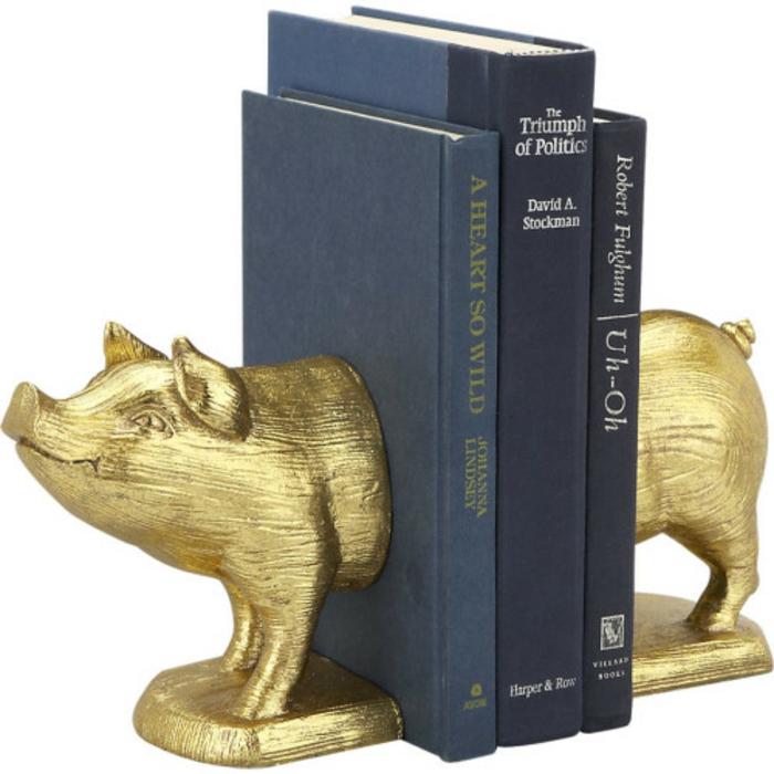 bücherstützen goldenes schwein