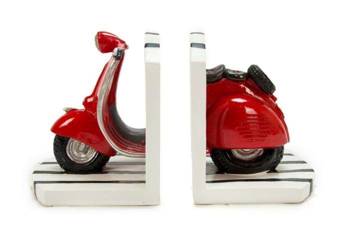 bücherregal buchstützen selber machen roter roller motorrad