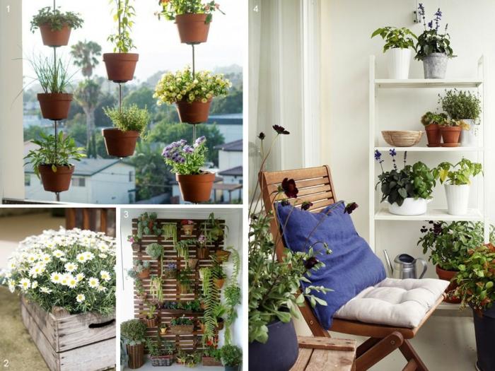 balkon gestalten balkonmöbel klappstuhl beistelltisch regale holzkisten vertikales gardenign