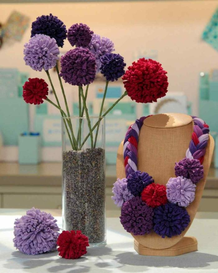 machen dekoideen DIY IDeen bommel troddel wandgestaltung vase
