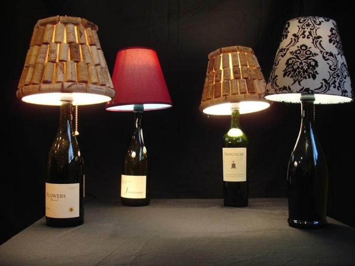 bastelideen deko ideen diy ideen tablett aus korken wein zum lampenschirme