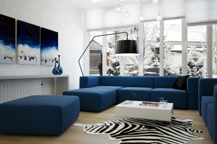 blaues sofa ecksofa zebra teppich