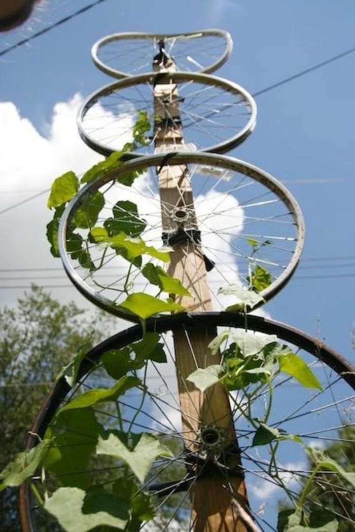 deko ideen selbermachen fahrradräder pflanzen gartendeko ideen