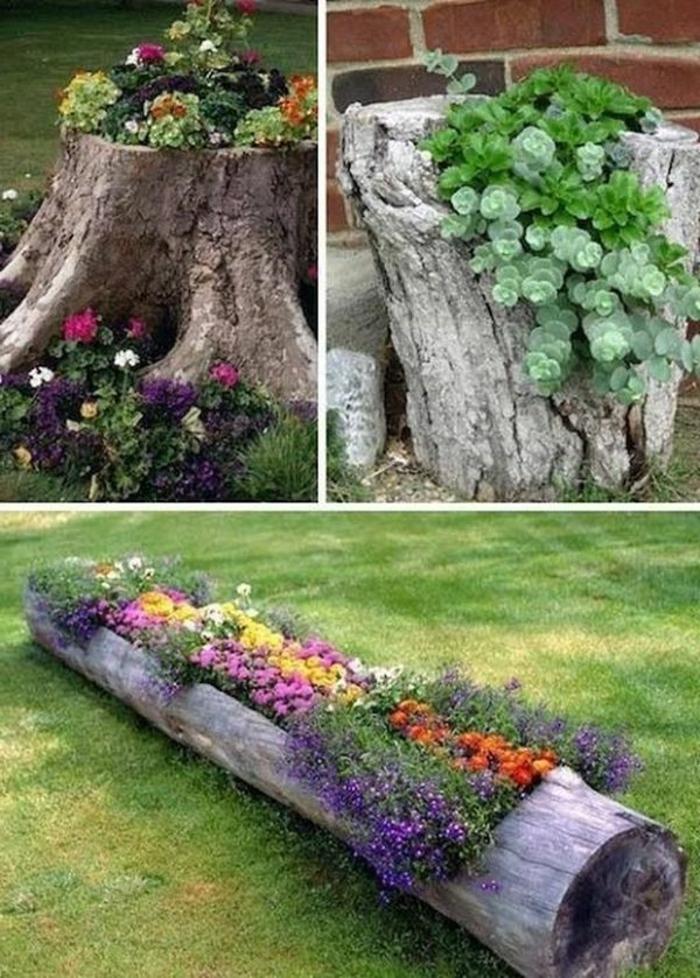 deko ideen selbermachen gartendeko ideen blumen stümpfe pflanzenbehälter