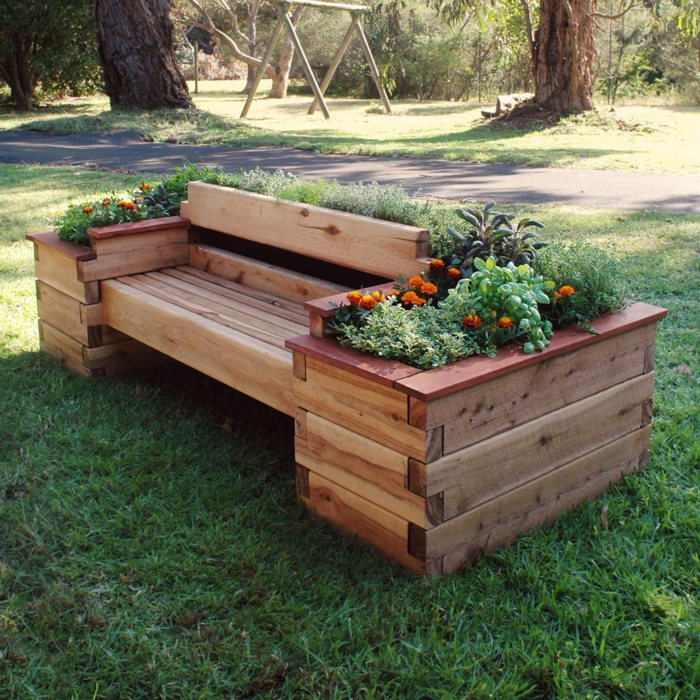 deko ideen selbermachen gartendeko ideen gartenbank pflanzenbehälter funktional