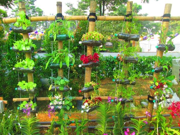 deko ideen selbermachen kreative gartenideen flashen pflanzenbehälter
