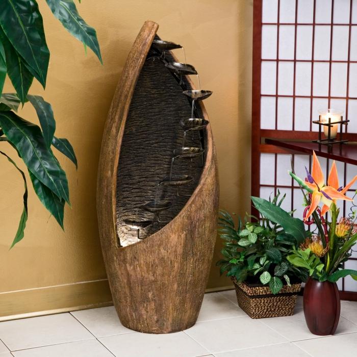 dekoideen bambusdeko wohnideen holzdeko raumtrenner fernost wohnung wandgestaltung brunen