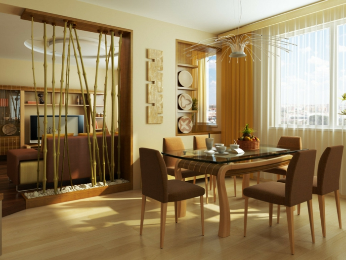 dekoideen bambusdeko wohnideen holzdeko raumtrenner fernost wohnung