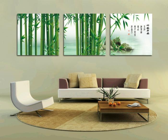 dekoideen bambusdeko wohnideen holzdeko raumtrenner teppich wohnzimmer