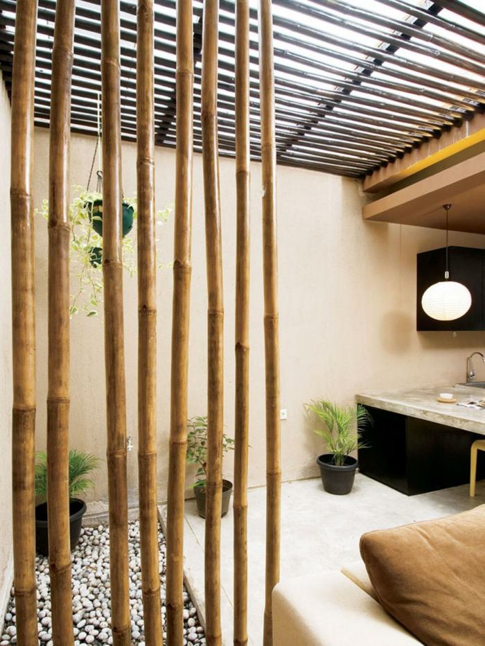 dekoideen bambusdeko wohnideen holzdeko raumtrenner
