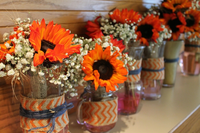 Decorative ideas, floral decoration ideas, interior design ideas orange sunflower