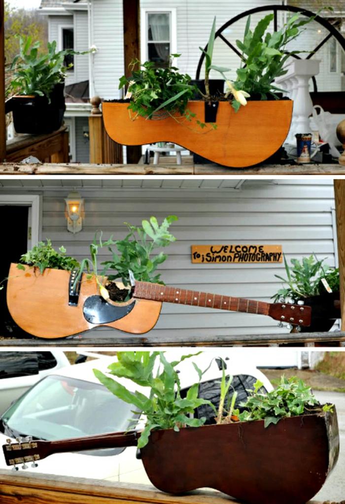Upcycling Ideen dekoideen deko ideen wohnzimmer ideen DIY ideen kreativ gitarre blumentöpfe