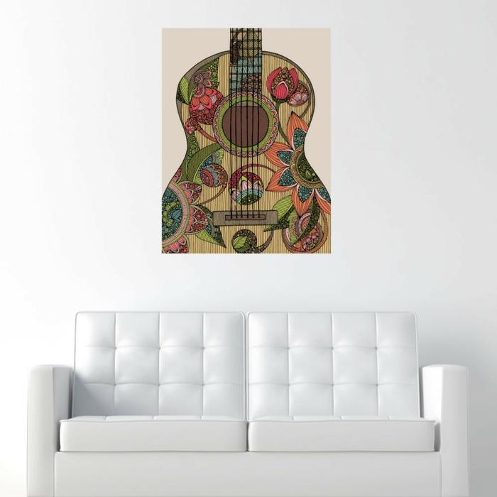 Upcycling Ideen dekoideen deko ideen wohnzimmer ideen DIY ideen kreativ gitarre eingerahmt
