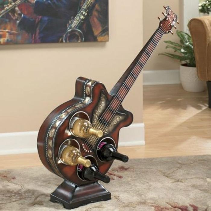 Upcycling Ideen dekoideen deko ideen wohnzimmer ideen DIY ideen kreativ gitarre weinregal