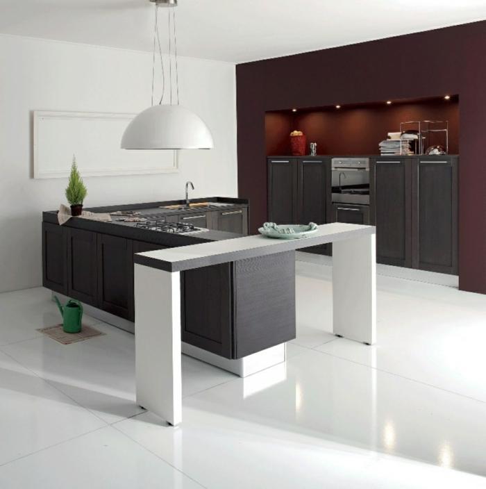 design küchen weiße bodenfliesen hängelampe nischen ausnutzen
