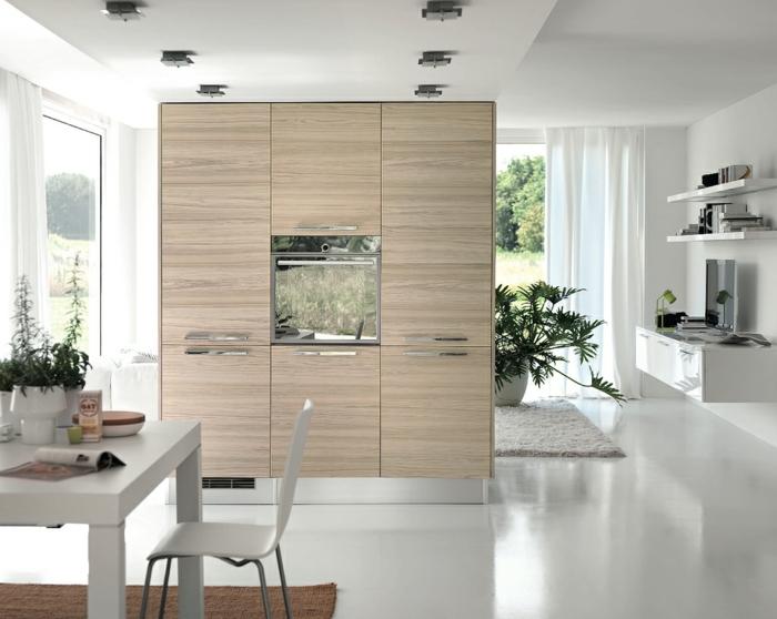 design küchen offener wohnplan trennwand funktional weißer boden
