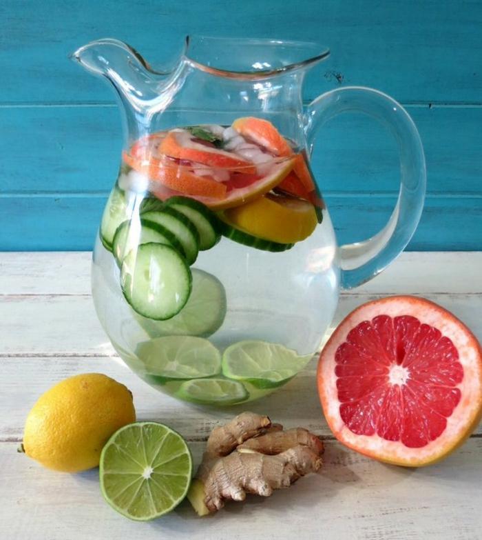 detox kur sommer entgiftung zitrusfrüchte obst wasser ingwer zitrone graipfruit