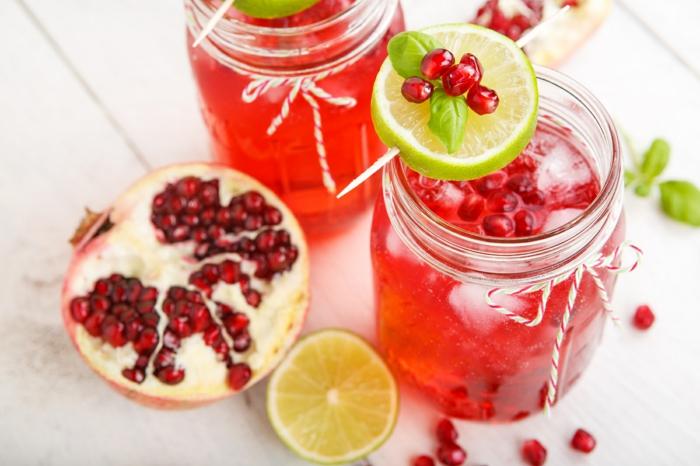 detox kur sommer granatäpfel zitrone limette basilikum minze