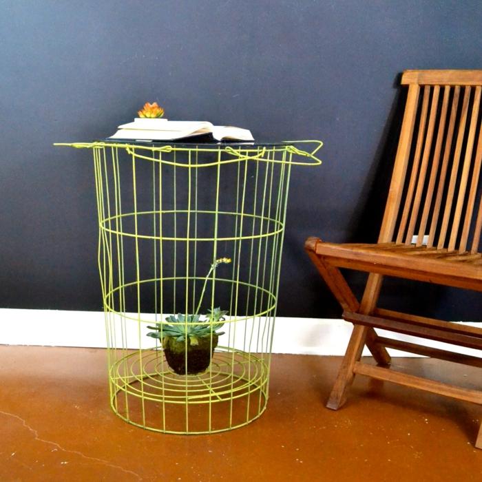 ideen deko ideen einrichtungsbeispiele drahtkorb tisch selber tischdeko drahtkorb grün