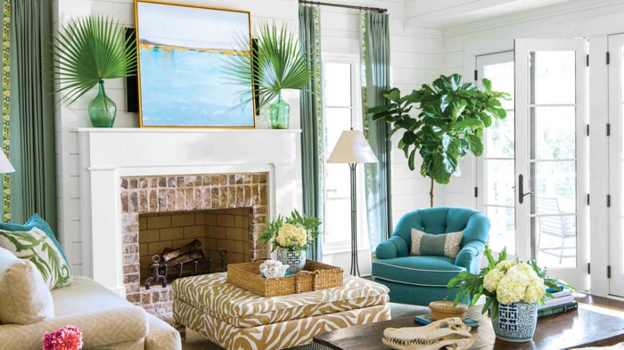 einrichtungsbeispiele maritime deko krake blau wohnzimmer dekokissen