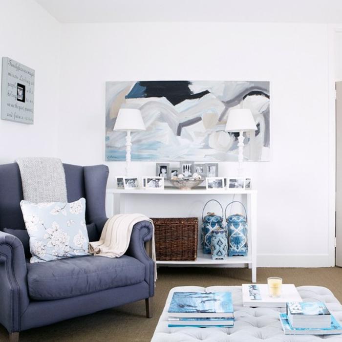 einrichtungsbeispiele maritime deko krake blau wohnzimmer eingang blaue blautöne