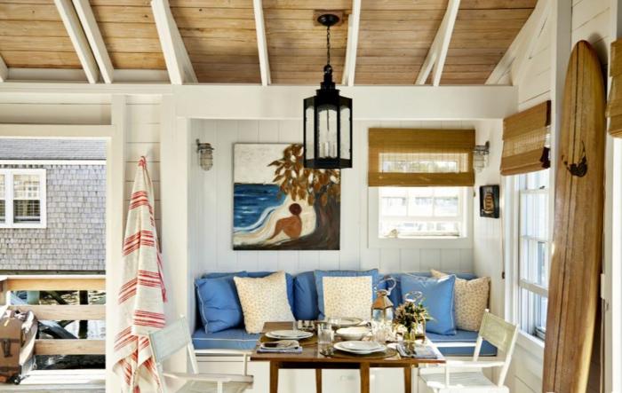 einrichtungsbeispiele maritime deko krake blau wohnzimmer eingang blaue kissen